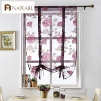 Wholesale Fixing Pocket Doors - NAPEARL hot sale elegant 100% polyester 3D printed sheer roman blinds floral tulle fabric short kitchen curtain