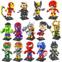 Wholesale Spiderman Blocks - LOZ Diamond Block Set 8.5 CM Box Nanoblock Avengers Spiderman Iron Man Hulk Superman Cartoon 3D Building Blocks Gift Series Toys For Kids