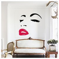 Wholesale Audrey Hepburn Decor - Women Beauty Audrey Hepburn Eyes Red Lips Removable Room Decor Wall Sticker Decals