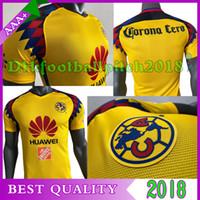 Wholesale american version - Player version 2017 2018 Mexico american club America soccer Jerseys New Third Yellow 17 18 SAMBUEZA Camisetas O.Peralta men football shirts