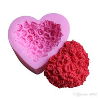Wholesale silicone rose cake mold - Love Heart Shape Silicone Mould Pink Rose Flower Cake Baking Tools Hand Made Chocolate Pudding Mold For Valentines Day 4zy B