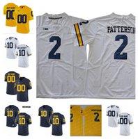 jersey kemp venda por atacado-NCAA Michigan Wolverines Shea Patterson 10 Dylan McCaffrey Devin Bush Camisas De Futebol Da Faculdade De Carlo Kemp Brady Woodson Costurado Costurado