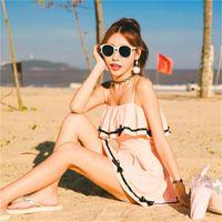 2-teiliger anzug split rock großhandel-Split Skirt Badeanzug Flachwinkelansicht Zwei Badeanzüge Zwei Badeanzüge Bowknot Pure Color 65gf dd