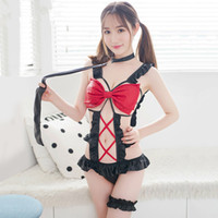 Wholesale 2018 Pole Dance Sex Costumes PU Leather Bow Hollow Out Teddy Babydoll Collar Leg Ring Cosplay Erotic Lingerie Sexy Maid Uniform
