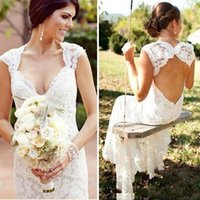 Wholesale fitted women wedding dresses online - Stylish White Full Lace Country Wedding Dresses Plus Size Fitted Open Back Long Bridal Gowns For Women Fun Slim Garden Beach Wedding Gown