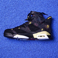 Wholesale Woman Chinese Shoes - 2018 AIR RETROS 6 CNY MEN AND WOMEN BASKETBALL SHOES CHINESE NEW YEAR EXQUISITE FLORAL EMBROIDERY METALLIC GOLD-MULTI NOIR BIG BOY SNEAKERS