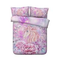 ropa de cama de flores de niña rosa al por mayor-de lujo de la muchacha 3D del unicornio lecho de la impresión fija funda de edredón Flores unicornio Ropa de cama Ropa de cama de color rosa rey mejor regalo