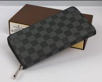 Wholesale leather checkbook purses - Long Style Supr Women and man PU Leather Purse Multiple Wallet Damier Graphite Soft Bifold Credit Card Holders Wallet With Box