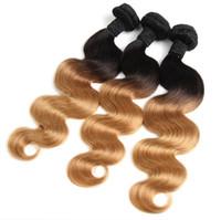 ombre remy insan saç uzantıları dokuma toptan satış-Brezilyalı Vücut Dalga İnsan Virgin Saç Örgüleri Iki Ton Ombre Renk 1B / 27 Çift Atkı Remy Saç Uzantıları