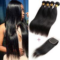 cheveux vierges achat en gros de-8A Bundles brésiliens de cheveux raides avec fermeture 100% de cheveux bruts brésiliens non transformés 3 faisceaux avec fermeture Beauty Supply