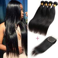Wholesale Hair Weave Supplies - 8A Brazilian Virgin Hair Bundles Straight Weaves Human Hair Wefts With Closure 5Pc Brazilian Human Hair Bundles with Closure Beauty Supply