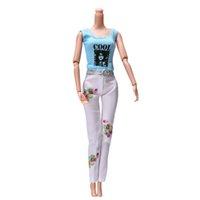 """Wholesale Girls Purple Fur Coat - 2 Pcs Set Fashion 11"""" Dolls White Pants Fur Purple Coat Multi-color Clothes Suit For Barbie Dolls Accessories"""