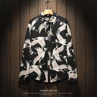 casual kleidung männer korea großhandel-2018 Frühling und Herbst Männer Mode Korea Stil Kran Print Langarm Shirt männlichen beiläufigen lose schwarz Fett Hemd Import Kleidung
