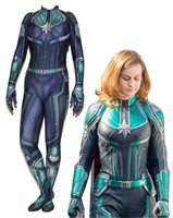 Wholesale superheroes woman costume for sale - Avengers Woman Captain Marvel Ms Marvel Carol Danvers Cosplay Costume Superhero Bodysuit Suit Jumpsuits for Halloween Purim