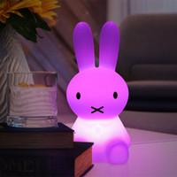 babytier nachttischlampen großhandel-H28CM RGB Led Kaninchen Nachtlicht USB für Kinder Baby Kinder Geschenk Tier Cartoon Dekorative Lampe Nacht Schlafzimmer Wohnzimmer