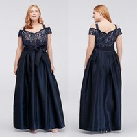 Dark Navy Plus Size Lace Prom Dresses Off The Shoulder Evening Gowns With Sash A Line Cheap Taffeta Floor Length Formal Dress