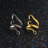 polvo de ouro venda por atacado-Titanium Aço Lula Anéis Anéis Unisex de Ouro e Prata Octopus Anéis de Dedo Ajustável Animal Anéis Jóias