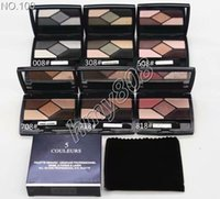 Wholesale eyeshadow palette mirror - Makeup Base Eyeshadow Palette 5Color Shimmer & Metallic Eyeshadow Top Quality Palette With Velvet bag And Mirror Natural Primer Eyeshadow