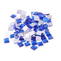 mavi akrilik elmas taşları toptan satış-Mavi renk Akrilik Rhinestones FlatBack Kare El Sanatları Scrapbooking DIY Elbise Için çok boyutları Tırnak Sanat Dekorasyon