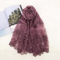 Wholesale beads hijab for sale - Group buy 20pcs women s headscarf lace with pearl shawl plain floral print cotton hijab fashion muslim wrap headband cape bead scarf