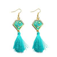Wholesale high quality crystal chandeliers - Trending Style Earrings High Quality Long Macrame Diamond Shape Gem Ear Stud Tassels Pendant Earrings Ear Jewelry For Women
