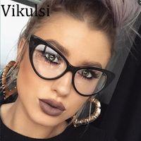 gözlük çerçeveleri kedi gözü toptan satış-2017 Yeni Seksi Kedi Göz Optik Gözlük Kadınlar Şeffaf Gözlük Marka Tasarımcısı Vintage Temizle Gözlük Optik Çerçeve óculos