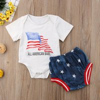 Wholesale baby boy jeans months - Baby Romper Shorts Sets Independence Day 4th July All American Babe Letters US Flag Demin Jeans Pants Boys Girls Summer Clothing Sets 9M-3T
