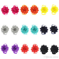 Wholesale flower feet accessories for sale - Baby Foot Flower Wristband Barefoot Sandals Folds Chiffon Flower baby girl shoes Baby Hand Foot Accessories Toddler KFA15