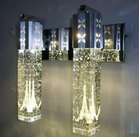 wohnzimmer kronleuchter moderne blase großhandel-NEUE Moderne 6 Watt LED Kristall Blase Wandleuchte Kristall Zylinderform Spalte Wohnzimmer Wandleuchte Spiegelleuchte RGB Warmweiß Kronleuchter Licht