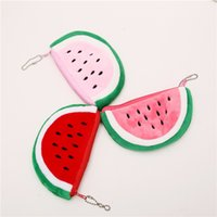 кошельки с арбузом оптовых-Wholesale- Lovely Cartoon Coin Purse Small Watermelon Thicker Plush Zero Wallet Pouch Women Bags Hand Bag CX0024