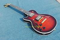 guitare cerise gauche achat en gros de-Guitare pour gaucher Black Cherry Creux Guitare Électrique Fleur Touche OEM Pas Cher