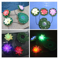 flor de loto nueva al por mayor-Moda Nuevo Solar Powered Led Flotante Lotus Light Night Flower Lámpara para Estanque Fuente Jardín Piscina Estanque Fuente Decoración Decoración Planta Falsa