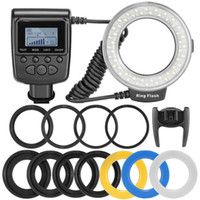 Wholesale Dslr Lcd - RF-550D Macro LED Ring Flash Light Speedlight for NIKON Canon Olympus (HDMI) DSLR Cameras + LCD Display free shipping