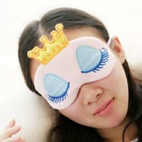 Wholesale Eye Patches For Sleeping - Crown Eyeshade Eye Cover Sleeping Mask Travel Cartoon Lovely Long Eyelashes Patch Sleeping Beauty Blindfold for Women Girls