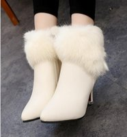 Wholesale Korean Boots Wedges - Big star qiu dong's new south Korean edition of the famous brand real rabbit hair drip-top high heels and skinny boots