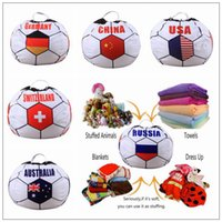 Wholesale baby bean bag - 26 inch Russian World Cup Storage Bean Bag Baby Stuffed Animal Football World Cup Pouch Bag Organizer Beanbag CCA9444