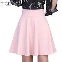 08a3a16370b TIGENA Womens Jupe 2018 Summer Taille haute plissée jupe courte pour les  femmes Mini Sun School Tutu jupe femme Black White Pink Blue S916