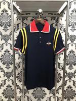 Wholesale Tennis Polo Shirts - 2018 brand Italy polos shirt Men Bee embroidery collar mens casual cotton tennis polo shirt fashion tee tops poloshirt
