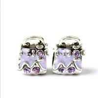 Wholesale Wholesale Glass Beads For Sale - European Silver Crystal Charms Enamel Loose Beads Fit Pandora Bracelets 925 Jewelry Lady Handbag for Sale Girls Jewelry Making Wholesale
