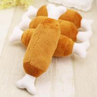 peluş tavuk oyuncakları toptan satış-Sıcak Kadife Pet Köpek Kedi Tavuk Bacakları Peluş Tosy Interaktif Ses Oyuncaklar Pet Malzemeleri Köpek Peluş