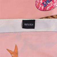 handgemachter schal rosa großhandel-Handgemachte Quadrat Frauen Animal Print Schal Joker Rosa Blumen Vogel Muster Schals Womens Stola Foulard Femme Große Twill Schals