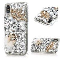 caso do iphone do silicone da raposa venda por atacado-Para iphone xs max diamante fox estojo de cristal de cristal casos de strass para iphone xr x 7 8 plus 6 6 s além de pedra de luxo capa capa