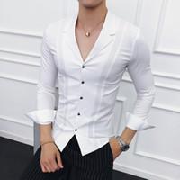 Männer Kleidung 2018 Anzüge Collar Shirts der Männer weiße Hemden der Männer Blau Designer Schwarz Camisa Social Masculina Slim Fit gömlek