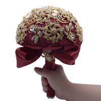 sıcak pembe çiçekler düğün buketi toptan satış-Moda Lüks Kristal Rhinestone Düğün Buketleri El Yapımı Gelin Çiçekler Asil Prenses Çiçekler