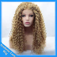 Wholesale Honey Blonde Lace Front Wigs - Synthetic Wigs Heat Resistant Honey Blonde afro kinky curly Lace Front Wigs #27 blonde kinky curly Hair Wigs For African American Woman