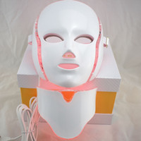 Wholesale light therapy for face online - 7 color LED light Therapy face Beauty Machine LED Facial Neck Mask With Microcurrent for skin whitening device dhl free shipment