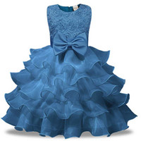 Wholesale natural chiffon wedding dress resale online - Flower Girls Dresses for New Year Party Clothes Baby Shoes for Girls Princess Bow Wedding Dress Children s Party Vestido