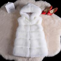 Wholesale mink hair fur coat women - Women Thickened Vest Imitation Mink Hair Fox Fur Coat Female Waistcoat Straight Elegant Warm Outwear Clothing With Long Fur Cap