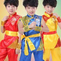 ropa wushu al por mayor-Nuevo Niños Wushu Traje unisex niños artes marciales Uniforme Kung Fu Traje Niños Niños Niñas Etapa Performance Clothing Set