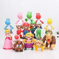 boneca vermelha japonesa venda por atacado-8 ~ 15 cm Super Mario Bros Bowser Koopa Yoshi Mario Luigi Donkey Kong PVC Figura Brinquedos Modelo Bonecas